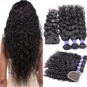 7A Brazilian Virgin Hair Bundles with Closure Water Wave 3 Bundles With Free Part Closure Wet And Wavy Virgin Human Hair Weave Natural