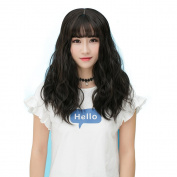 Labeauté Medium Hair Wig for Women Daily Lolita Wig Synthetic Wigs with Bangs