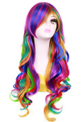 MOCOO 70cm Long Rainbow Big Wavy Cosplay Wigs For Women Halloween Costume Wig for Girls 56A