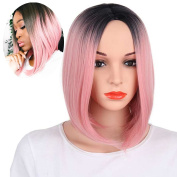 KRSI Short Straight Ombre Pink Bob Wigs for Black Women Natural Hair Pink Wigs for Women Middle Part Heat Resistant Synthetic Full Wigs+Free Wig Cap