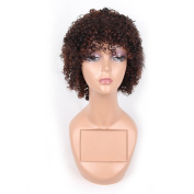HAIR WAY 100% Pure Human Hair Wigs Short Kinky Curly Wig for Women None Lace Capless Full Machine Made Short Curly Human Hair Wig for Daily Wear #1B/33