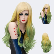 Alacos New Style Synthetic Full Head Rainbow Colour Long Curly Braiding Wigs for Women Harajuku Lolita Christmas Party +Wig Cap