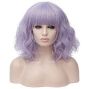 Max beauty Cosplay Women Short Bob Fluffy Hair Full Wigs Curly Wave Costume Wigs Multi Colour Free Cap