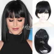 Brazilian Human Hair Clip in Bangs Full Fringe Short Straight Hair Extension for Women