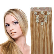 YONNA Clip In Sets 10Pcs Clip In Human Hair Extensions Honey Blonde with Platinum Blonde #P27/613 Remy Human Hair Straight For Full Head 60cm 120grams