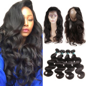360 Lace Frontal with Bundles Pre-plucked 8A Brazilian Body Wave Virgin Hair Bunldes with 360 Lace Frontal Closure Baby Hair