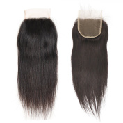 VGTE Hair 4x 4 Brazilian Lace Closure Straight Unprocessed Human Hair Top Closure Bleached Knots Natural Hairline with Baby Hair Free Part Closure