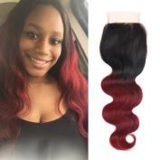 Soft Feel Hair Ombre Brazilian Body Wave Lace Closure 4×4 1b Burgundy Brazilian Virgin Human Hair Closure Free Part