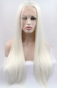 K'ryssma Synthetic Lace Front Blonde Wigs Half Hand Tied for White Women Heat Resistant Fibre Hair Silk Straight Wig 60cm