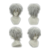 COSPLAZA Cosplay Wig Short Grey White Anime Full Hair with Net