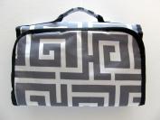 Cosmetic Bag Makeup Bag Cosmetic Organiser - Greek Key Grey & White