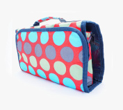 Cosmetic Bag Makeup Bag Cosmetic Organiser - Blue, Green, and Grey Dots with Red