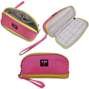 Makeup Bag/BUBM Double Layers Travel Cosmetic Pouch,Small Portable Toiletry Kit Organiser with Handle,Waterproof