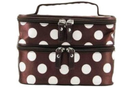 Dealzip Inc Fashion Women Brown and White Dots Printed Zipper Cosmetic Makeup Bag Pouch