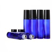 Sinide 6 Pack Essential Oil Roller Bottles 10ml [1/3oz] - Cobalt Blue Glass Roll on Bottle with Stainless Steel Balls Useful for Aromatherapy Perfumes and Lip Balms