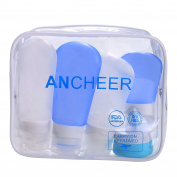 Ancheer Silicone Travel Bottles Set Pack of 5 Leak Proof Container with 1 Cream Jar in EVA Carry Bag for Shampoo, Conditioner, Lotion, Toiletries