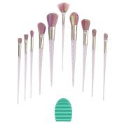 Angeltyr Makeup Brushes Set - Unicorn Premium Synthetic Kabuki Cosmetics Foundation Blending Blush Eye Shadow Powder Brush Makeup Brush Kit and Brush Egg