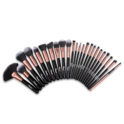 Ovonni 24PCS Professional Cosmetic Makeup Set Soft Foundation Blusher Eyeshadow Eyebrow Lip Conceal Brush Tools with Travel Pouch