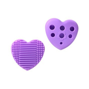 Makeup Brush Cleaner by Huemi Beauty | Holder Silicone Pad/Mat | Multi-Colour Heart-Glove Shaped Essential Design for Cleaning and Drying