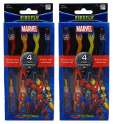 Dr. Fresh Marvel Heroes Standing Toothbrush, 4 Count (Pack of 2) Total 8 Toothbrushes
