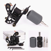 Tattoo Coil Machine 10 Wraps Coils Black Tattoo Machine Selflock Tattoo Grip 25mm Silicone Grips Cover 28mm Tattooing Tips 5F 5R Tattoo Kit for Liner Shader 2 Styles
