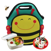 Castle Story Children Neoprene Lunch Bag,Lightweight and Waterproof and Insulated Fresh and Fit Gourmet Lunch Tote For Kids with Two ways to handle, Lovely Lunch Boxes Carrier Travel Bag,Bumblebee