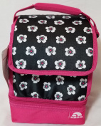 Igloo (TM) Insulated Sandwich Keeper Lunch Bag, Black, Pink, White Flowers