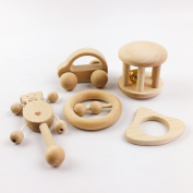 baby tete Toys Intellectual of Children Montessori Toys Set 5Pcs Nursing Wooden Wooden Rattles Baby Fun and Interesting Toys Toddler Handmade Shower Gift Motor Development Set