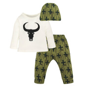 Gloryhonor Toddler Baby Kid Boys Long Sleeve Top + Cross Pants + Cap Outfit Clothes Set