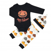 Gloryhonor Baby Toddler Boys Girls Cute Gift Pumpkin T-shirt Hat Pants Halloween Outfit