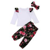 Gloryhonor Kids Baby Dress Long Sleeve T-shirt + Flower Pants + Hair Band Girls Outfit