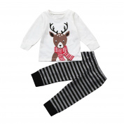 Boys Clothing Sets, SHOBDW Baby Boys Girl Christmas Deer Tops + Stripe Pants Newborn Outfits Clothes