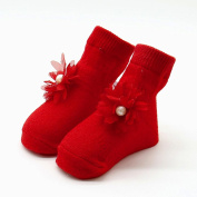 wuayi Baby Girls Comfortable Floral Globule Cute Cotton Sock Slippers Warm Ankle Socks