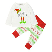 Nuohuilekeji Newborn Baby Christmas Elf Print Cotton T-Shirt Top + Long Pants Outfit Set