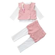 erthome 3PCS Newborn Baby Girls Bunny Waistcoat +Ruffles T-Shirt +Pants Clothes