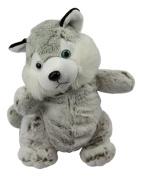 Baby Toys Plush/cuddly toy backpack Husky, grey, checked 33x18cm, super soft, animal toy companion play Grey/White PCS