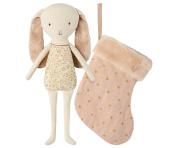 Maileg - Floppy Eared Bunny Angel In Stocking - Powder Pink - 23cms