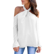 HKFV Superb Unique Charming Sexy Off Shoulder Style Women Autumn Casual Long Sleeve Low Cut Twisted Halter Solid Top Blouse