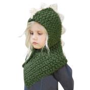 HKFV Unique Cute Fashion Charming Dinosaur Design Winter Baby Kids Girls Boys Cute Fox Warm Woollen Coif Hood Scarf Caps Hats Superb Warm