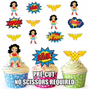 PRE-CUT Wonder Woman Superhero - Edible Cupcake Toppers / Cake Decorations