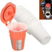 ECYC® 30Pcs Disposable Paper Coffee Filter with 1Pc Plastic Reuse Orange Cup For Keurig 2.0 K300 400 500