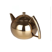QHGstore 1.5L Teapot Polished Stainless Steel Tea Pot Coffee With Tea Leaf Filter Infuser Stovetop Teakettle gold