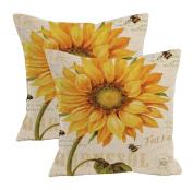 2Pcs Linen Blend Natural Flowers Pattern Cushion Cover Cotton Pillowslip Square Decorative Throw Pillow Case 46cm X 46cm