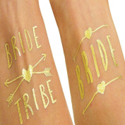 GUAngqi Bride and Bride Tribe Gold Temporary Tattoos For A Bachelorette Party