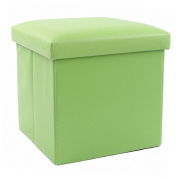 30cm Storage Ottoman Folding Stool,Collapsible Cube Faux Leather Coffee Table,Foot Rest Seat,Clutter Toys Collection Green