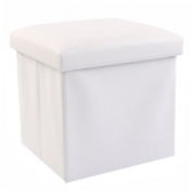 30cm Storage Ottoman Folding Stool,Collapsible Cube Faux Leather Coffee Table,Foot Rest Seat,Clutter Toys Collection White
