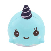 Soft Whale Cartoon Squishy Slow Rising Decompression Squeeze Toy Ballchains Phone Straps 9CM 3.5-inches Ultra Plush Fun Stress Reliever Toy for Kids Adults