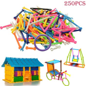 xlpace 250Pcs Baby Plastic Intelligence Sticks Educational Building Blocks Toys Handmade DIY Early Learning Gifts