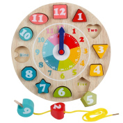 Wooden Colourful Shape Sorting Teaching Clocks Preschool Kids Educational Lacing Beads Toys