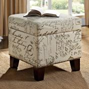 Dorel Living Blake Script Cube Home Ottoman Open Storage White Brown